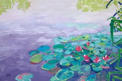 A Day of Pink Water Lilies by Leila Barton - Original Painting, Canvas on Board sized 30x20 inches. Available from Whitewall Galleries